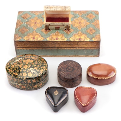 Decorative Trinket Boxes with Italian Leather, Wood and Bone