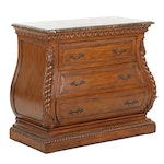 Three-Drawer Bombé Chest with Faux Marble Top