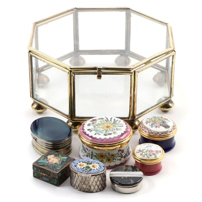 Italian Micro Mosaic Box, Halcyon Days Porcelain Trinket Boxes, and Other Boxes