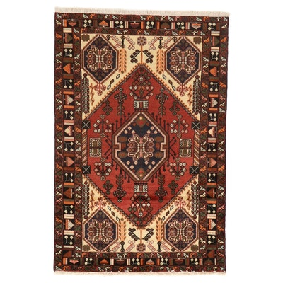 4'3 x 6'5 Hand-Knotted Persian Malayer Area Rug, 1970s