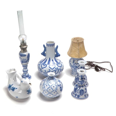 Ceramic Blue and White Candle Sticks, Lamps, Teapot and Vases