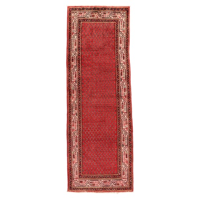 3'6 x 10'3 Hand-Knotted Persian Mir Sarouk Long Rug, 1970s