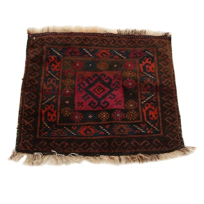 1'10 x 1'11 Hand-Knotted Persian Baluch Floor Mat, 1930s