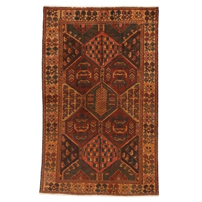4'2 x 6'9 Hand-Knotted Persian Bakhtiari Area Rug, 1940s