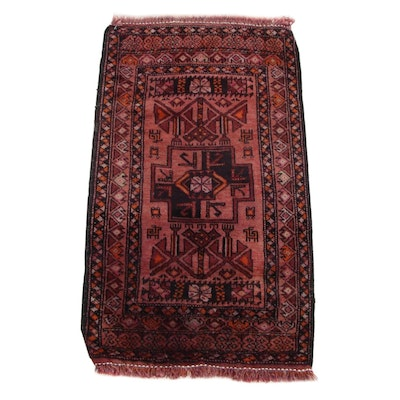 1'7 x 3'0 Hand-Knotted Persian Baluch Accent Rug, 1920s