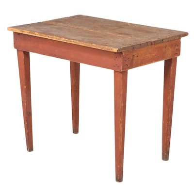 American Primitive Red-Painted Pine Work Table with Scrubbed Top, 19th Century