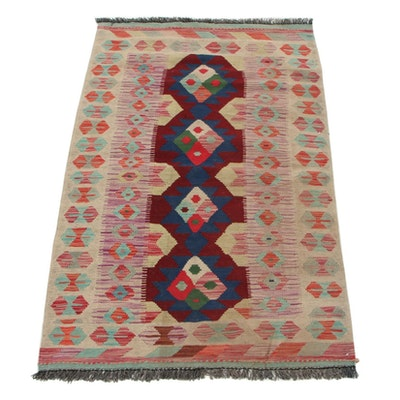 3'5 x 5'6 Handwoven Turkish Village Kilim Area Rug, 2000s