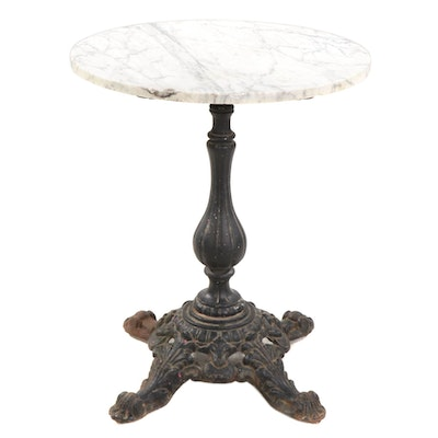 Cast Iron Bistro Table Base with Marble Top, Early 20th Century