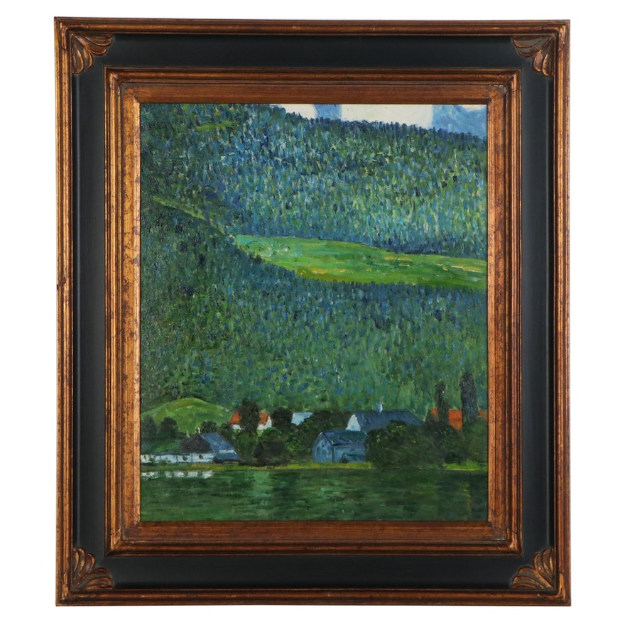 Impressionist Style Mountain Landscape Oil Painting, 20th Century