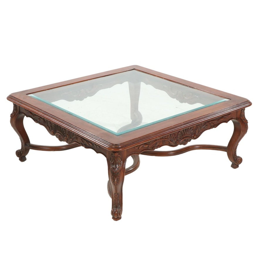 Louis XVI Style Glass Top Walnut Coffee Table, Late 20th Century