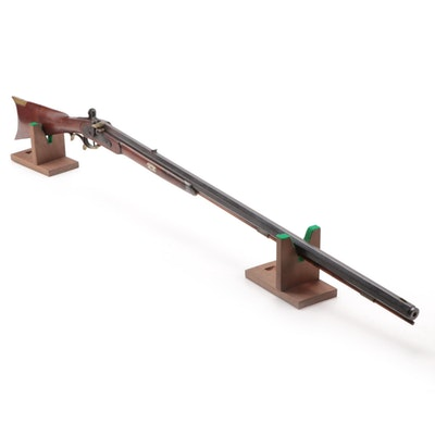 19th Century Percussion Rifle With Nickel Side Plate and Escutcheons