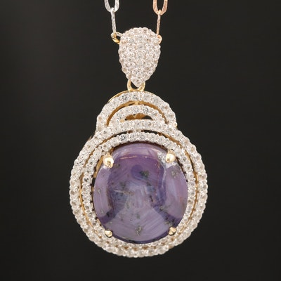 Sterling Corundum and Sapphire Pendant Necklace