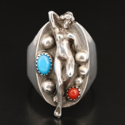 Sterling Silver Coral and Turquoise Ring with Reclining Nude