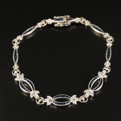 18K Diamond and Sapphire Fancy Link Bracelet