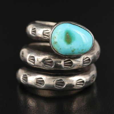 Sterling and Turquoise Stylized Snake Ring Hand-Stamped Accents