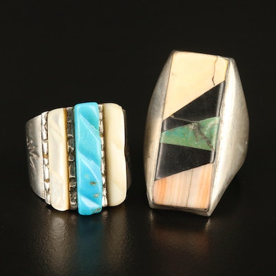 Southwestern Rings Featuring Mother of Pearl and Coral Including Signed Ring