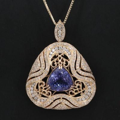 14K 7.22 CT Tanzanite and 2.24 CTW Diamond Enhancer Pendant Necklace