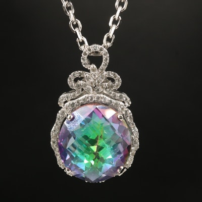 Sterling Mystic Quartz and Topaz Pendant Necklace