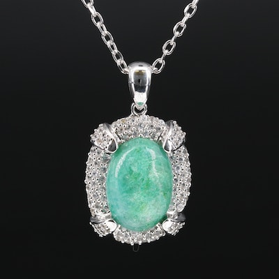 Stering Silver Pavé Beryl and Sapphire Pendant Necklace
