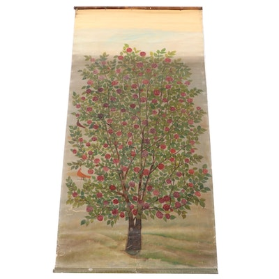 Oil Painting on Scroll of Blossoming Tree, Late 20th Century