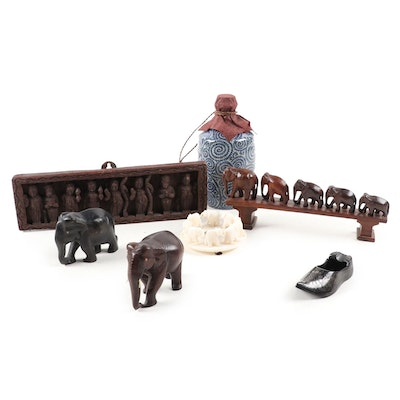 Asian Wooden Figural Wall Decor, Ceramic Jar, Elephant Sculptures and Ashtray
