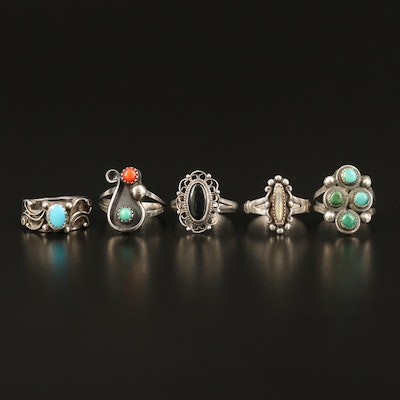 Western Inspired Sterling Rings Including Abalone, Turquoise and Faux Turquoise