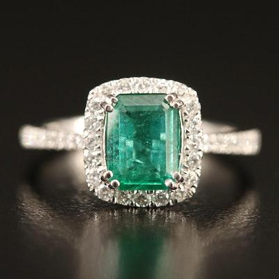 Platinum 1.25 CT Emerald and Diamond Ring