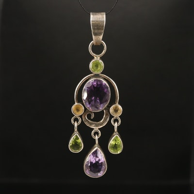 Sterling Amethyst, Peridot and Citrine Pendant