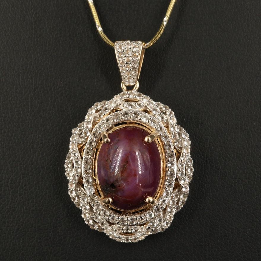 Sterling Star Corundum and Topaz Pendant Necklace
