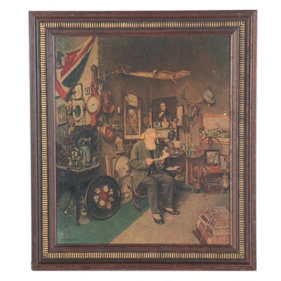 "Embellished Offset Lithograph after Charles Spencelayh ""Antique Shop"""