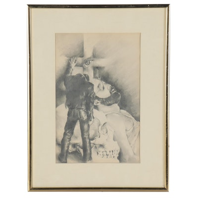 Graphite Drawing of Skull and Cross with Figure, 1986