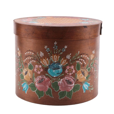 American Primitive Style Paint-Decorated Bentwood Box, Late 20th Century