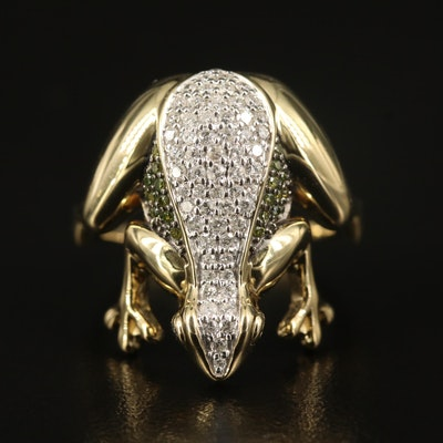 Sterling Diamond Frog Ring