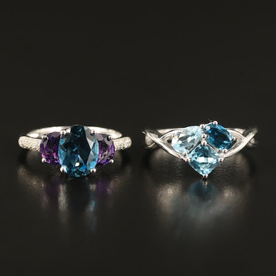 Sterling Topaz, Amethyst and Diamond Rings