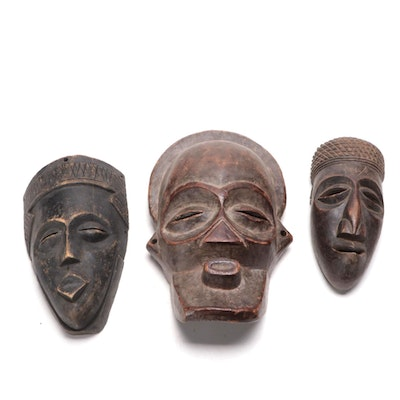 Lele Style and Chokwe Inspired Wood Masks, Central Africa
