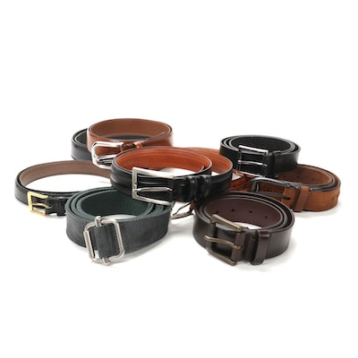 Men's Orvis, Magnanni, Johnston & Murphy, and Other Leather Belts