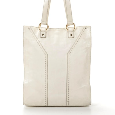 Yves Saint Laurent Tote in White Leather with Running Stitch