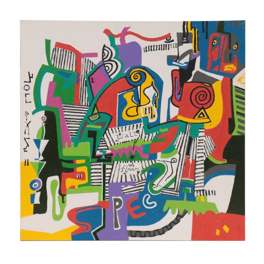 "Phyllis Trager Hyman Acrylic Painting ""Wallflowers"""