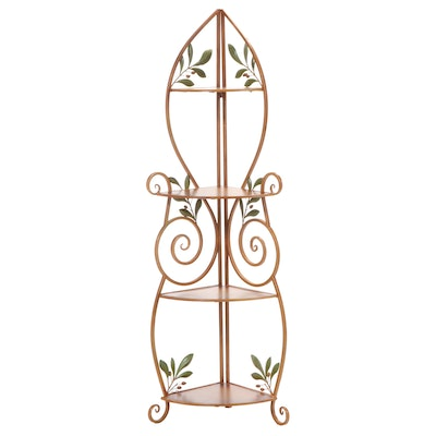 Four-Tiered Painted Wrought Iron Corner Plant Stand