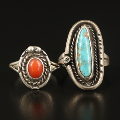 Western Inspired Sterling Turquoise and Coral Ring