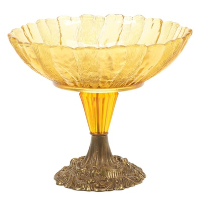 Amber Glass and Brass Cast Metal Compote
