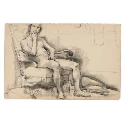 Edgar Yaeger Charcoal Drawing of Seated Male Nude, Mid-20th Century
