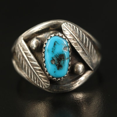 Western Inspired Sterling Turquoise Ring with Feather Accents