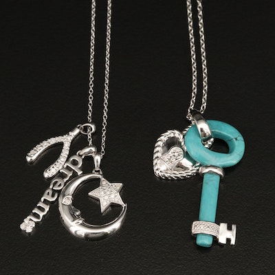 Sterling Moon, Star, Wishbone, Dreams Necklace with Heart, Lock and Key Necklace