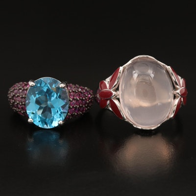 Sterling Rings with Topaz, Ruby, Rose Quartz and Additional Gemstones