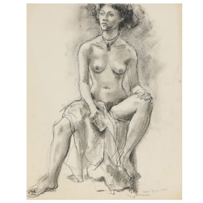 Edgar Yaeger Charcoal Drawing of Female Nude, 1983