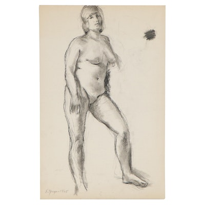 Edgar Yaeger Figural Charcoal Drawing, 1965