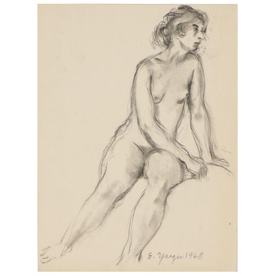 Edgar Yaeger Charcoal Drawing of Seated Female Nude, 1968