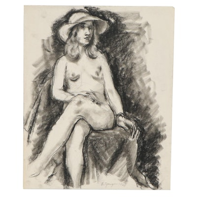 Edgar Yaeger Charcoal Drawing of Seated Female Nude in Hat, 1968