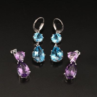 Sterling Amethyst Drop Earrings and Topaz Dangle Earrings